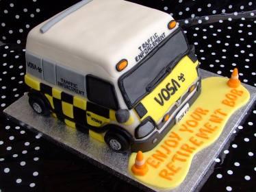 'VOSA' van cake to celebrate retirement