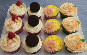 Raspberry and white chocolate; double chocolate oreo; vintage lemon curd; carrot cake and lemon topping (with home made miniature carrots!)