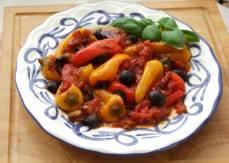 Sweet peppers in spicy tomato sauce. A delicious side dish
