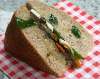 Soda bread with roasted vegetables and mozzarella