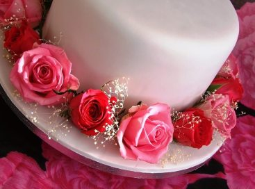 iced traditional wedding cake