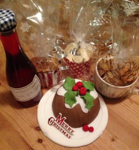 Christmas pudding-cake, macaroons, shortbread, fudge, and some cheeky sloe gin 'winter warmer'!