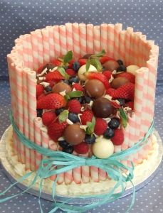 Chocolate and strawberry celebration cake