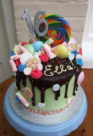 Sweet shop cake with chocolate drips and more sprinkles that you can imagine!