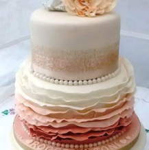 frills and ombre wedding cake