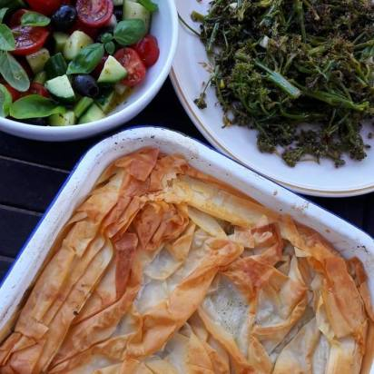 Spanokopita and Greek salad